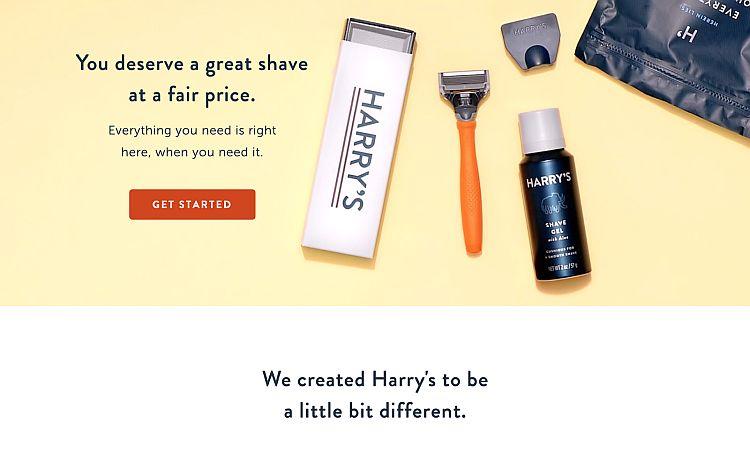 Customer focused Harry's website