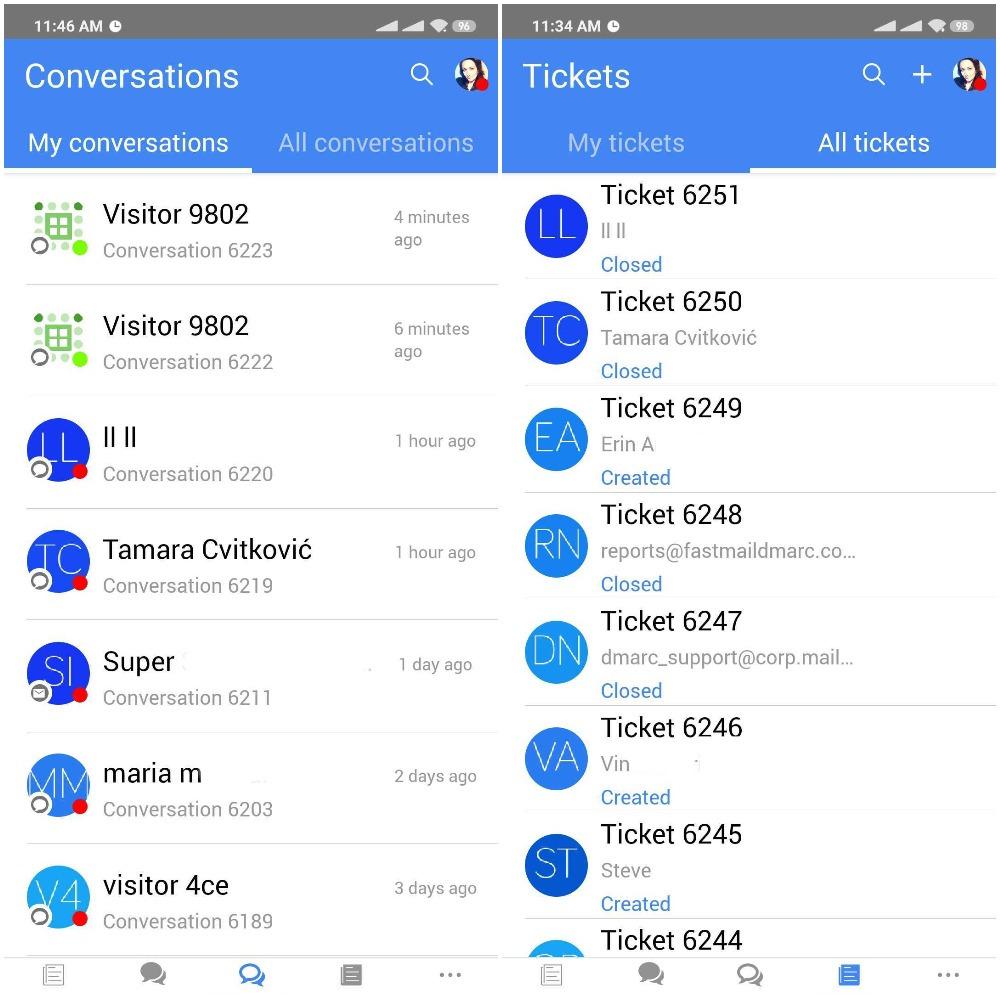 mobile app conversations tickets