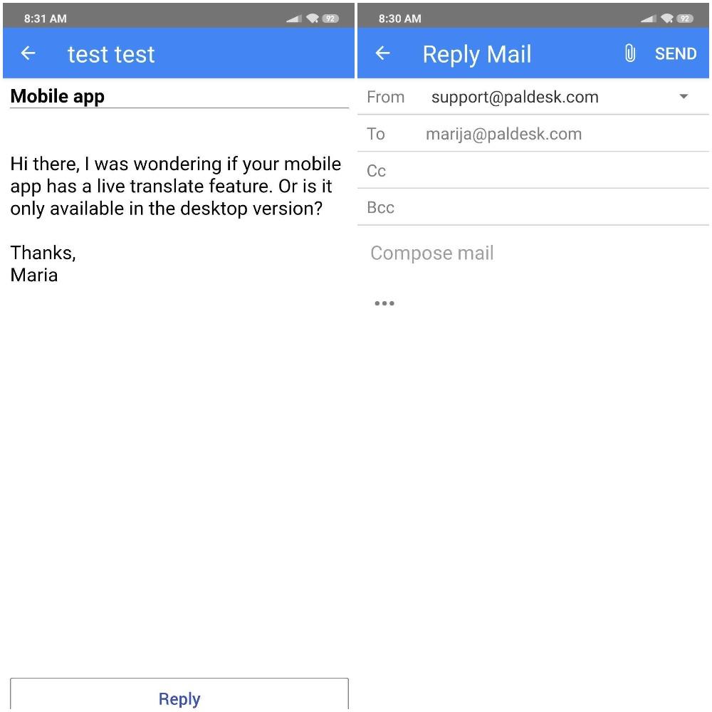 Paldesk mobile app email