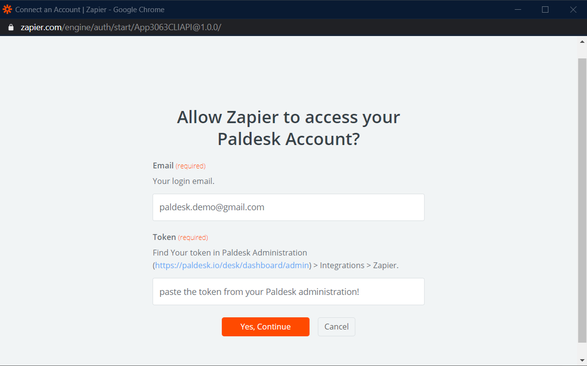 Sign into Zapier with your Paldesk credentials