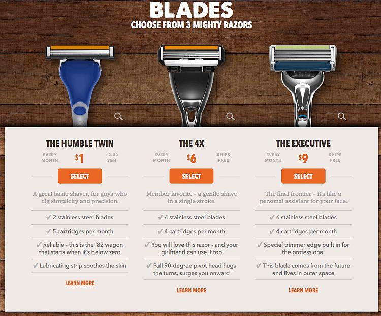 Upselling razors example