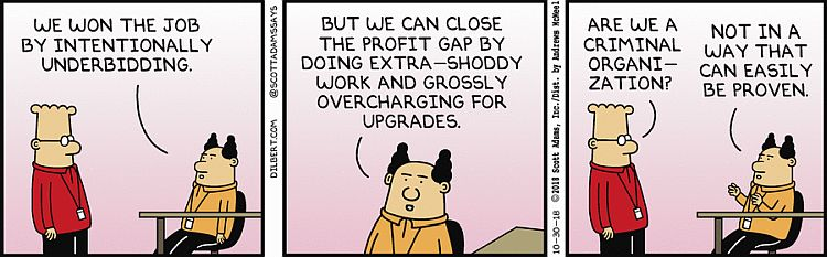 A comic by Dilbert about upselling