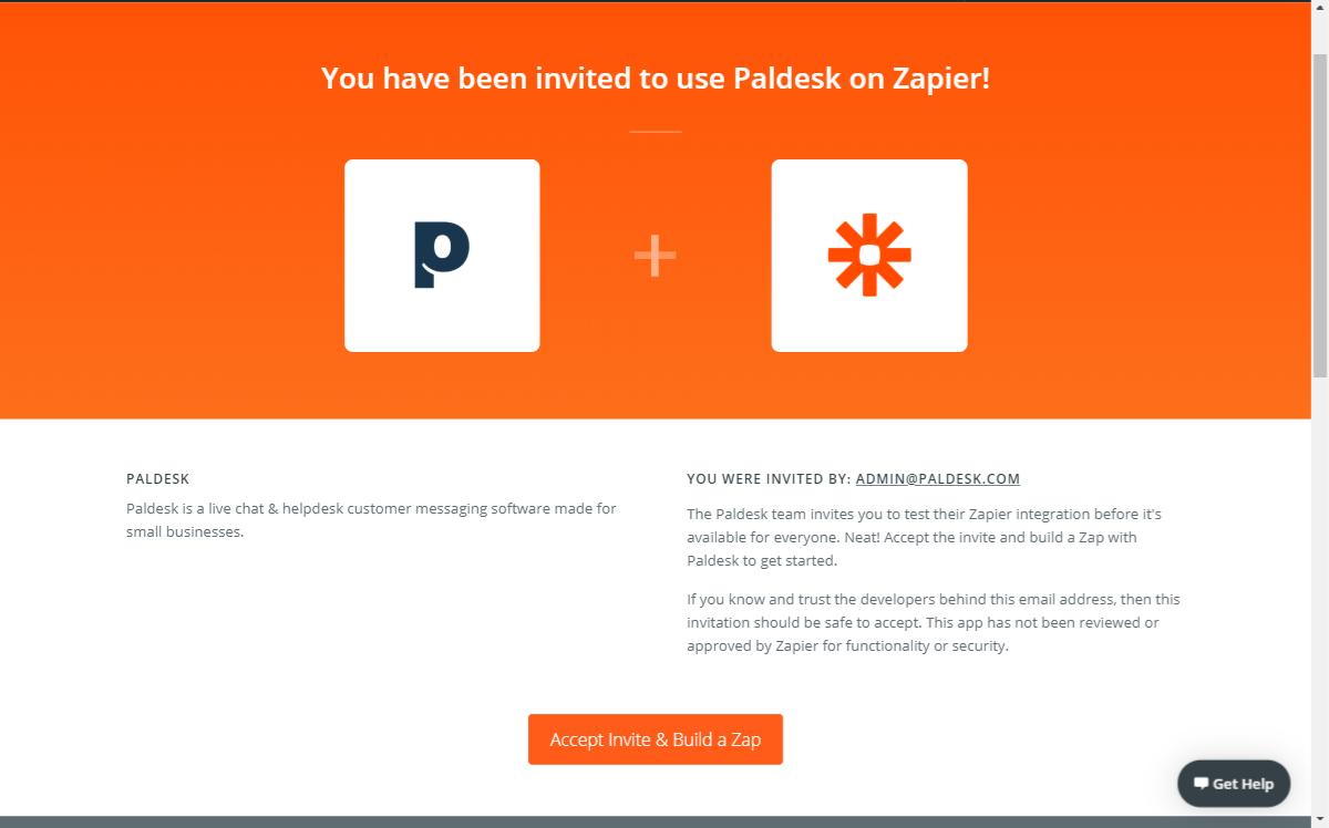 Paldesk invite to Zapier