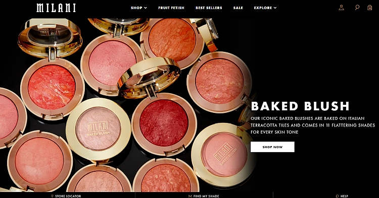 Visually appealing ecommerce website design by Milani