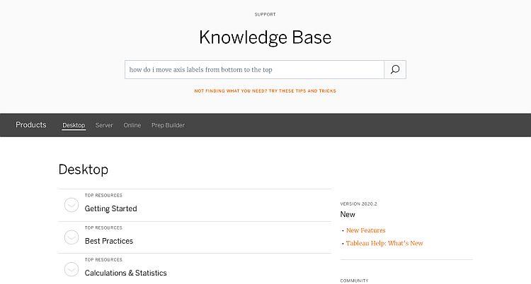 Tableau's Knowledge management system