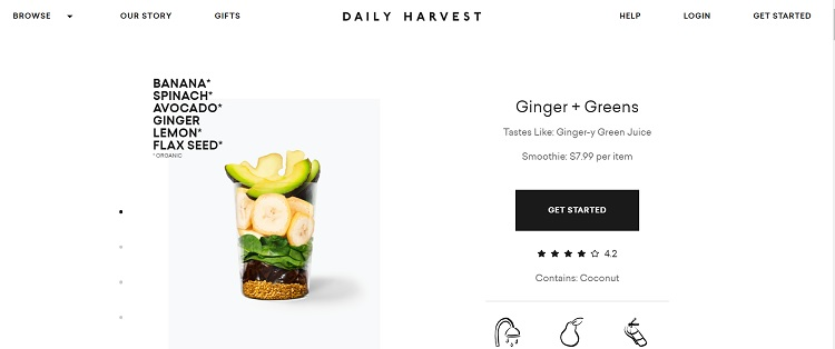 Daily Harvest product landing page example