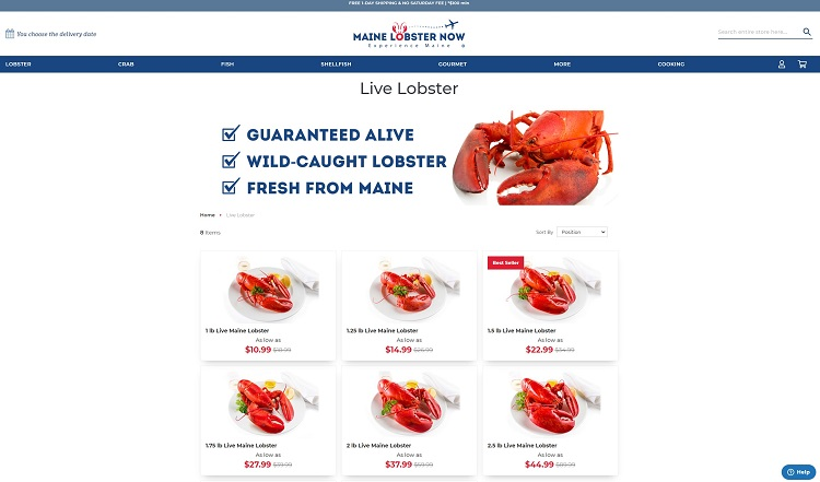 Maine Lobster Now product landing page example