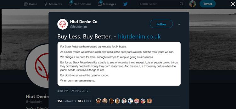 Black Friday marketing example by Hiut Denim