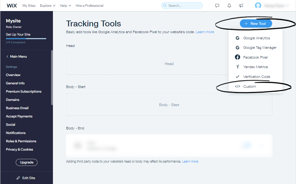Your wix tracking tools