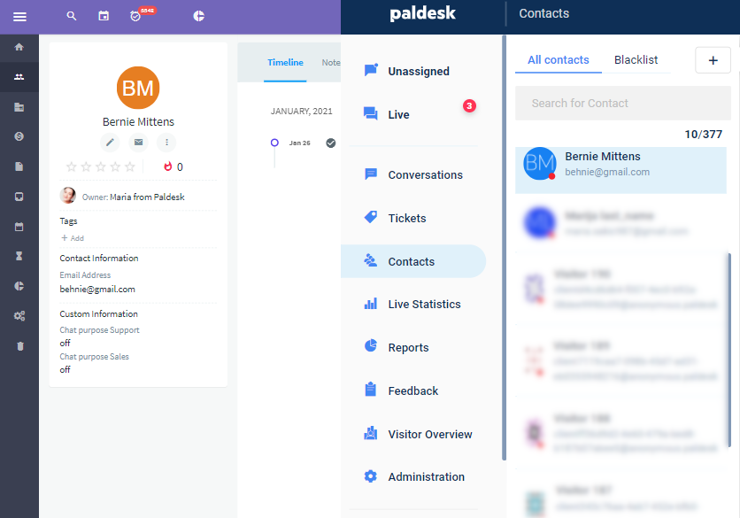 Test contact in Agile CRM and Paldesk