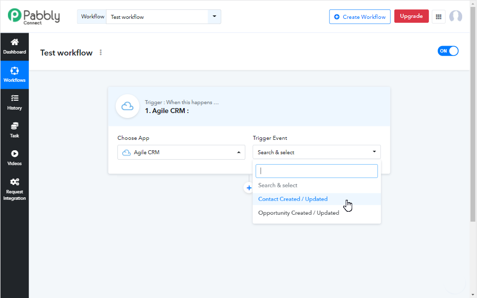 Pabbly Connect new workflow with Agile CRM